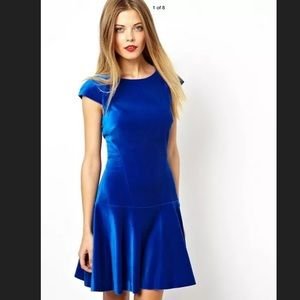 TED BAKER Blue Velvet Dress Size 2 EUR Small US
